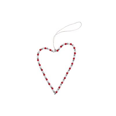 Wire & Bead Heart, red/silver/white