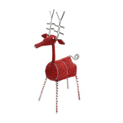 Beaded Reindeer Red Large