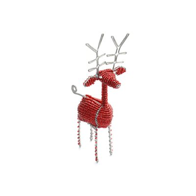 Beaded Reindeer Red Small Kenya
