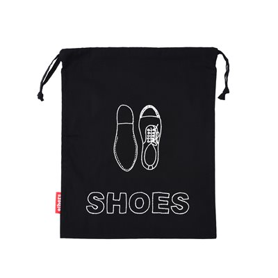 Black Shoe Bag with White Embroidery