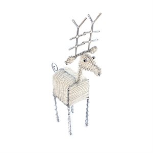 Beaded Reindeer Silver Small Kenya