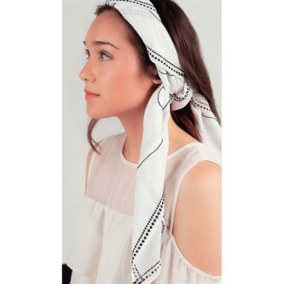 White Scarf with Black Embroidery