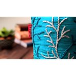 Coral Embroidered Pouch Sea Green