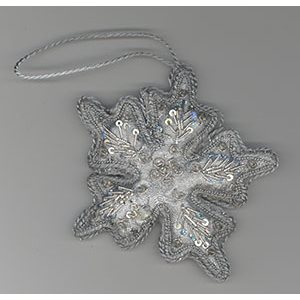 Embroidered Silver Snow Flake Ornament