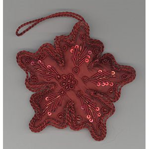 Embroidered Red Snow Flake Ornament