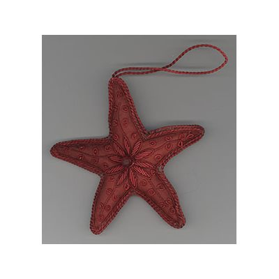 Embroidered Red Star Ornament
