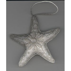 Embroidered White Star Ornament