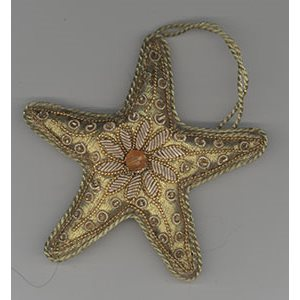 Embroidered Golden Star Ornament