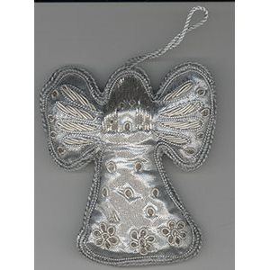Embroidered Silver Angel Ornament
