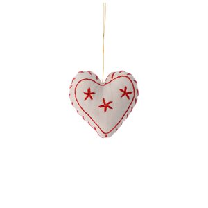 Embroidered Heart Bangladesh (Natural with Red Emb)